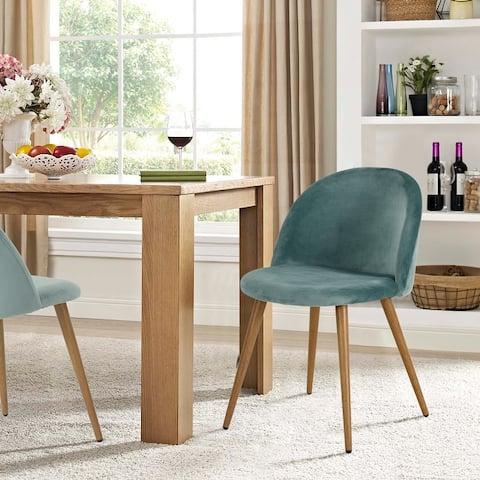Maidi Velet Armless Elegant Semicircle Back Ding Chairs set of 2