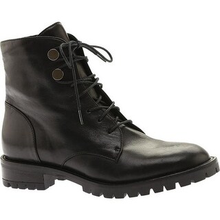 Kenneth Cole New York Women's Francesca Combat Boot Black Patent Leather