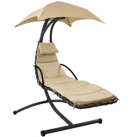 Sunnydaze Floating Chaise Lounger Swing Chair With Canopy