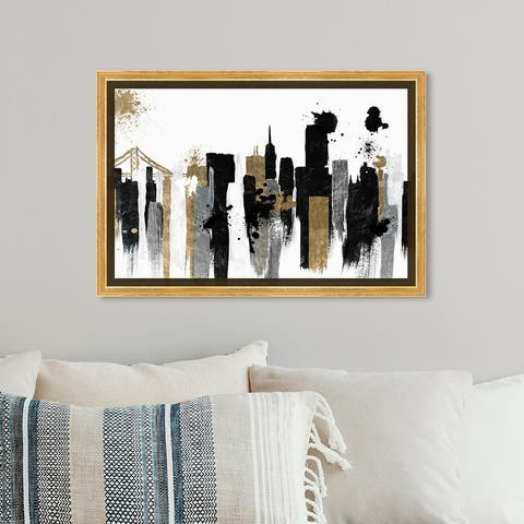 Oliver Gal 'Glamorous San Francisco' Cities and Skylines Wall Art Framed Canvas Print United States Cities - Black, Gold