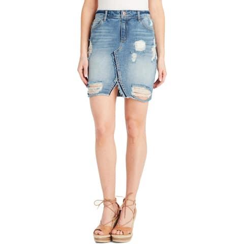 Jessica Simpson Womens Denim Skirt Distressed Mini