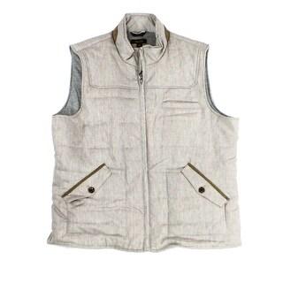 Tasso Elba NEW Beige Mens Size Medium M Faux-Suede Trim Quilted Vest