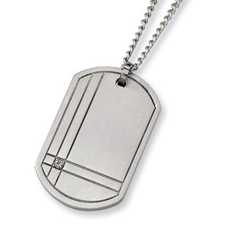 Chisel Brushed Titanium and Diamond Dogtag on 22 Inch Steel Curb Chain (2 mm) - 22 in