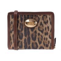 Roberto Cavalli Brown Print Ipad Case Leopard Leather Shoulder Bag