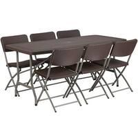 Rivera 7pcs 32.5''W x 67.5''L Plastic Folding Table w/6 Chairs, Brown Rattan