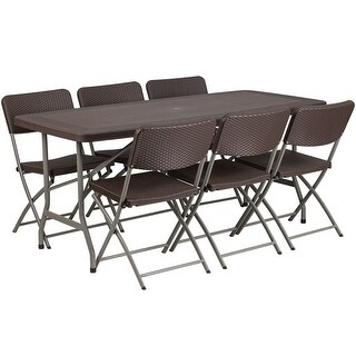 Rivera 7pcs 32.5''W x 67.5''L Plastic Folding Table w/6 Chairs, Brown Rattan