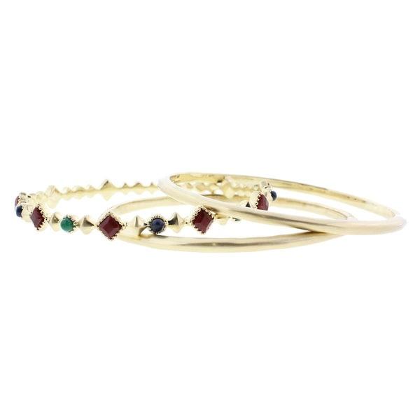 Karen Kane Womens Bangle Bracelet 3PC Jeweled - gold/multi
