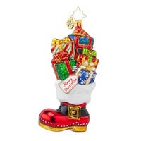 Christopher Radko Glass Christmas Loot Boot Santa Ornament #1017862 - multi