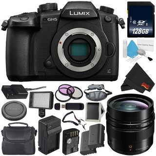 Panasonic Lumix DC-GH5 Mirrorless Micro Four Thirds Digital Camera (Body Only) + Panasonic Leica DG Summilux 12mm Lens Bundle