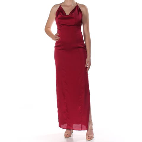 72dcf049c38 FAME AND PARTNERS Womens Maroon Slitted Spaghetti Strap Cowl Neck Maxi  Sheath Evening Dress Size