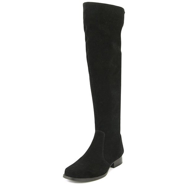 Isaac Yolanda Women Round Toe Suede Black Over the Knee Boot