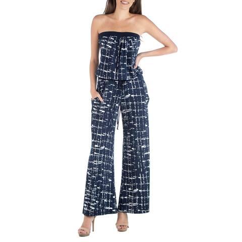 24seven Comfort Apparel Navy Geometric Print Sleeveless Jumpsuit with Pockets R002526PNA