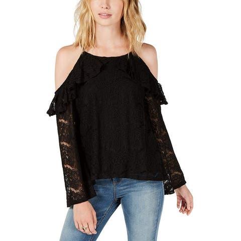 Ultra Flirt Women's Blouse Black Size XS Lace Popover Cold Shoulder
