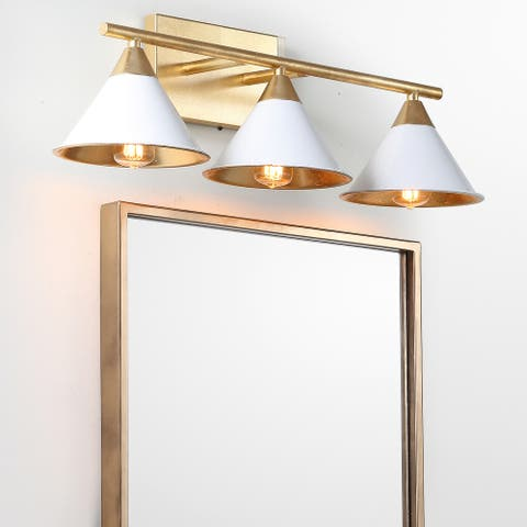 "Yvette 3-Light 25"" Metal Vanity Wall Light, White/Gold by JONATHAN Y"
