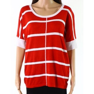 Jones New York NEW Red White Womens Size Small S Striped Knit Top