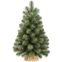24 inch Decorative Green Noble Pine Christmas Tree in a Burlap Vase
