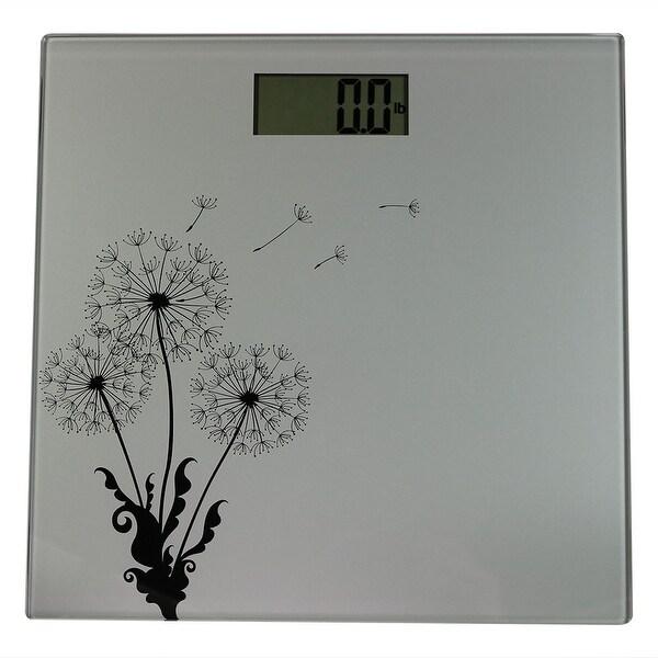 Sunnydaze Precision Digital Glass Bathroom Scale With Silver Dandelion Design Overstock 13766907