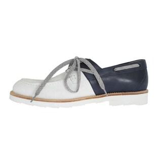 Dolce & Gabbana Dolce & Gabbana White Blue Leather Shoes - eu44-us11