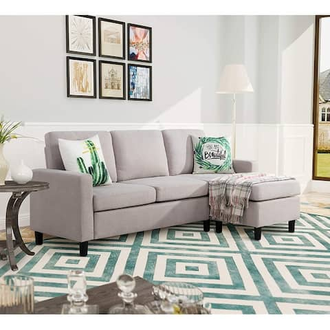 Futzca Convertible Sectional Sofa Couch with Reversible Chaise, Modern Linen Fabric L-Shaped Couch for Small Space