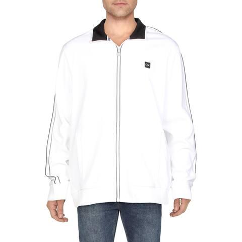 Calvin Klein Mens Sweatshirt Zip-Up Logo - Brilliant White - XXL