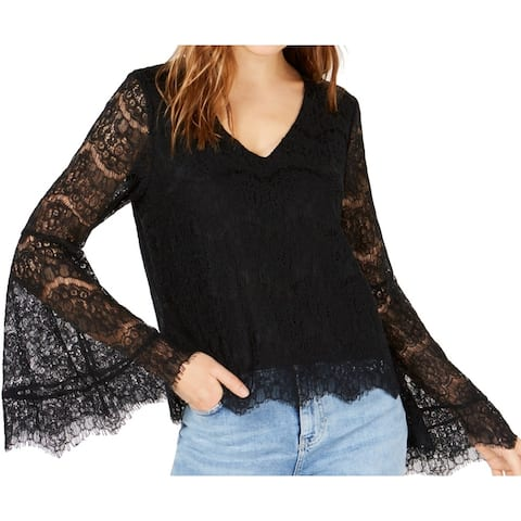 Ultra Flirt Womens Blouse Black Size XL V Neck Lace Bell Sleeves