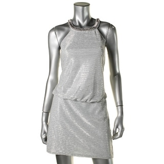 Laundry by Shelli Segal Womens Metallic Embellished Cocktail Dress