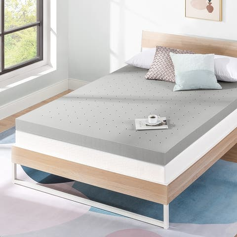 4 Inch Ventilated Memory Foam Topper with Bamboo Charcoal Infusion