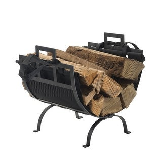 Pleasant Hearth 1085 Wrought Iron Fireplace Wood Holder and Canvas Log - Black Powder Coated