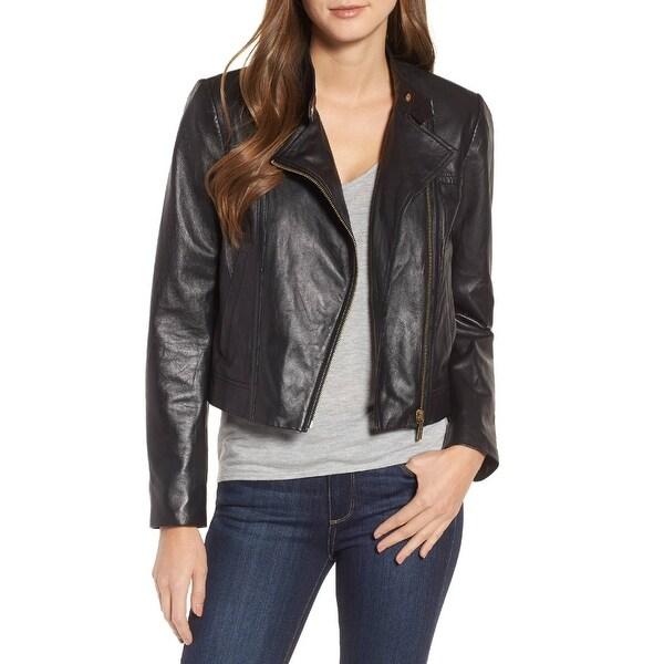 31faae37f392 Shop MICHAEL Michael Kors Leather Cropped Moto Jacket Black Gold ...
