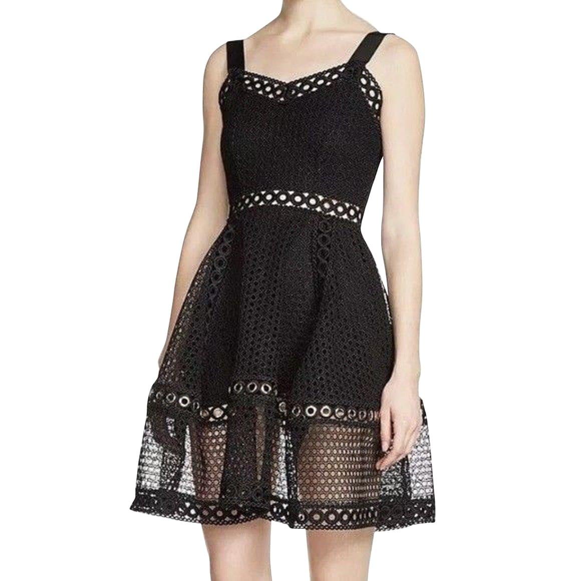Maje Women S Fit Flare Black Polyester Lace Eyelet Trim Dress E17ravi 3 3 Overstock 30381068