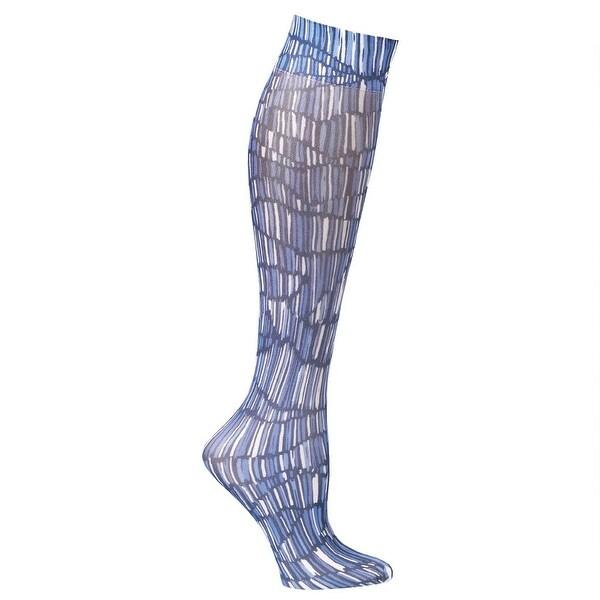 Ceseste Stein Mild Compression Knee High Stockings, Wide Calf - Pylon Blue