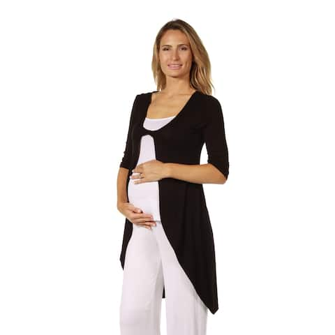 24seven Comfort Apparel Bell Sleeve Maternity Open Cardigan