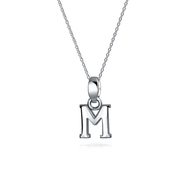Bling Jewelry .925 Silver Small Letter M Initial Pendant Necklace WObGinBt