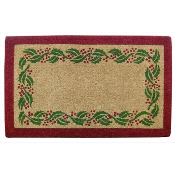 Nedia Home O2244 Heavy Duty Coir Mat - 22 x 36 In. Holly Ivy Border - Plain