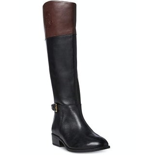 DKNY Womens Babz Leather Round Toe Knee High Riding Boots