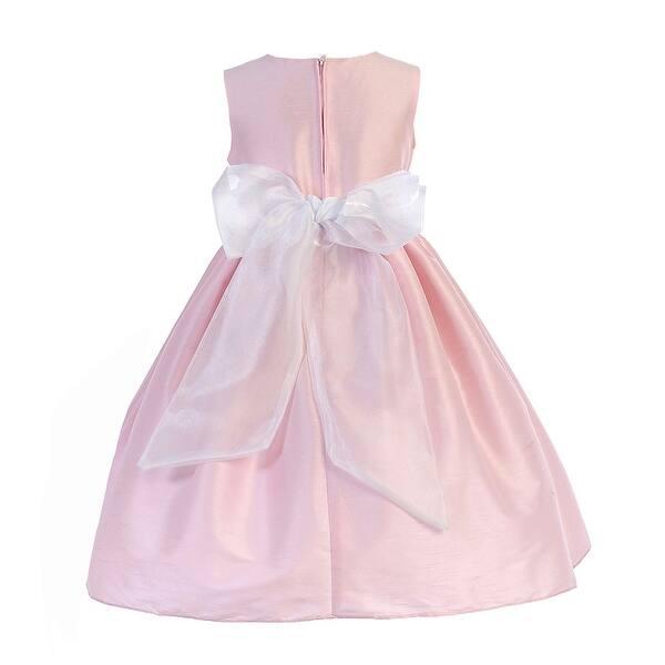 3150c3e78388 Shop Crayon Kids Girls Pink Floral Accent Easter Junior Bridesmaid ...