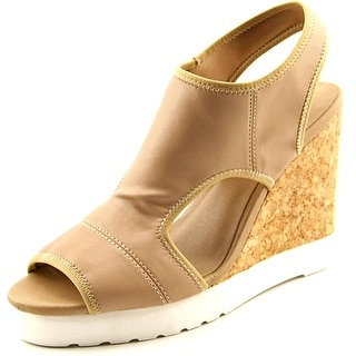 Kenneth Cole Reaction Monk-Ey Business Open Toe Leather Wedge Heel