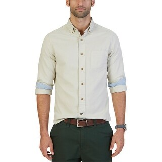 Nautica Mens Button-Down Shirt Flannel Solid