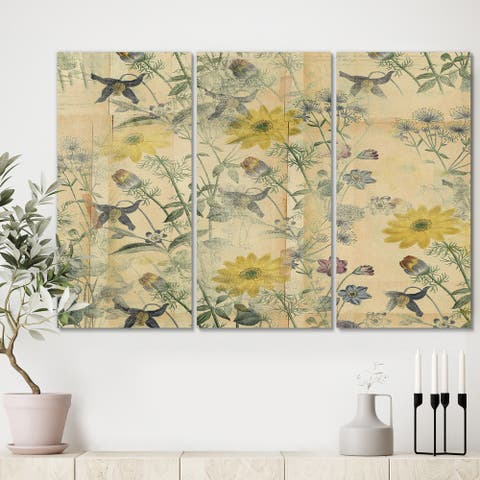Designart 'Floral Collage Layered Papers' Cottage Canvas Artwork - 36x28 - 3 Panels