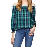 Sanctuary Green Womens Size XS Plaid Print Off Shoulder Blouse