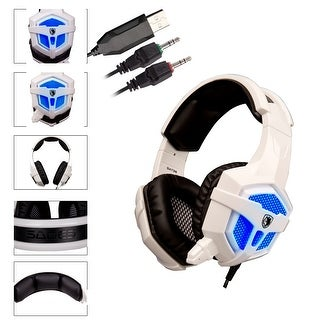 SADES Stereo Gaming Headphone Headsets USB 0.14Inch LED with Mic for PC/MAC Blue Led Light