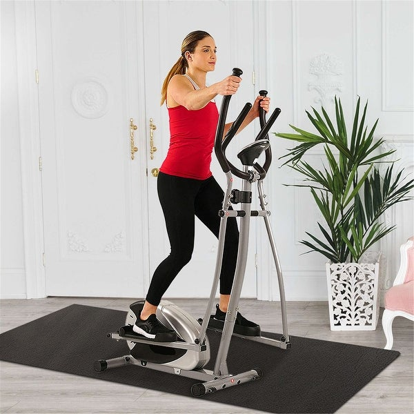 FitHealth Elliptical Machine Cardio Machine Stair Stepper 8 Level Resistance and Digital Monitor w/Exercise Equipment Mat. Opens flyout.