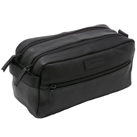 Alpine Swiss Sedona Toiletry Bag Genuine Leather Shaving Kit Dopp Kit Travel Case - One Size