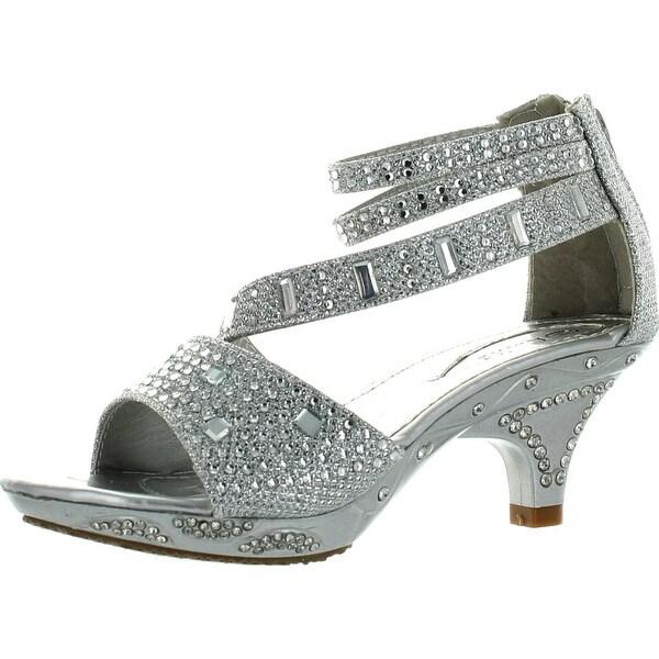 Lucita Girls Dress Shoes Jan-300Km Stunning Rhinestone And Glitter Heels Shoes - Silver