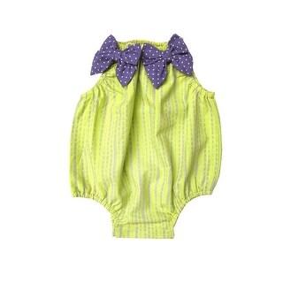 Sophie Catalou Baby Girls Citron Lavender Stripe Bow Bubble Bodysuit