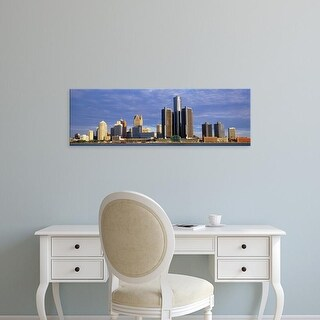 Easy Art Prints Panoramic Images's 'Skyscrapers at the waterfront, Detroit, Michigan, USA' Premium Canvas Art