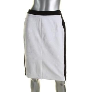 Calvin Klein Womens Pencil Skirt Colorblock Textured