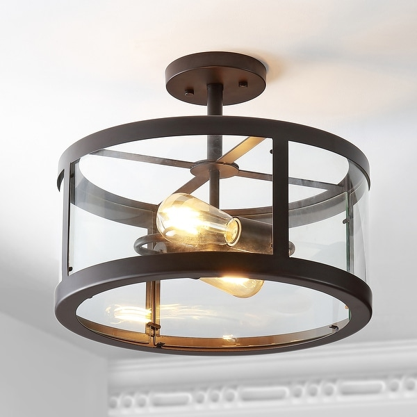 "JONATHAN Y Herndon 2-Light 15"" Iron/Glass Modern LED Flush Mount. Opens flyout."