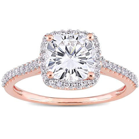 Miadora 2ct DEW Moissanite and 1/4ct TDW Diamond Square Halo Engagement Ring in 14k Rose Gold