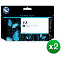 HP 70 130-ml Matte Black DesignJet Ink Cartridge (C9448A) (2-Pack)